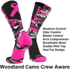 camo breast cancer awareness crew basketball socks