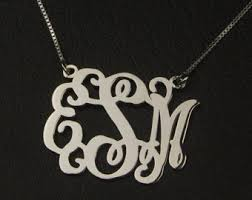 Monogrammed Necklace Sterling Silver Monogram Necklace Sterling Silver