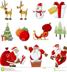 santa claus cartoon christmas set royalty free stock images