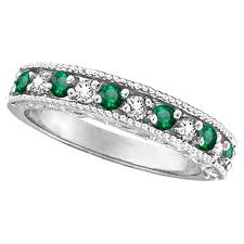 emerald stones rings images Designer diamond and emerald ring band 14k white gold 0 59 ct jpg