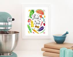 Home Decor Wall Art Food Print Eat Local Kitchen Art Foodie Watercolor Print Home