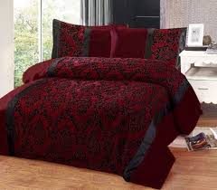 Covered Duvet Burgundy Red U0026 Black Flock Design In Faux Silk King Size Duvet
