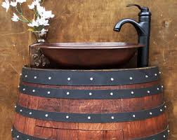 Hammered Copper Bathroom Sink Wine Barrel Vanity With Hammered Copper Sink