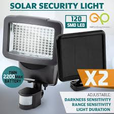 led solar security light black 2x 120 smd led solar powered security light g p mytopia