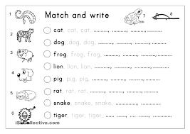 Preschool Handwriting Worksheets Matching Letter Tracing Writing Animals English Language