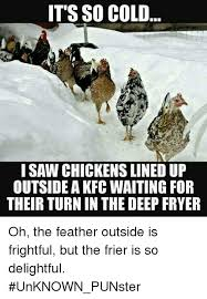 It S So Cold Meme - it s so cold i saw chickens lined up outside a kfc waiting for their