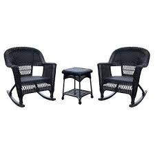 No Cushion Outdoor Furniture - outdoor jeco 3 pc wicker rocker chair set with side table