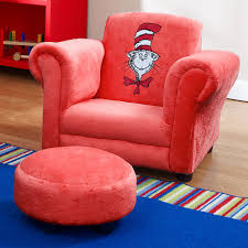 dr seuss red velour cat in hat mini chair with ottoman