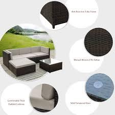 Good Rattan Specification Brown Ikayaa 5pcs Pe Rattan Wicker Patio Garden Furniture Sofa Set