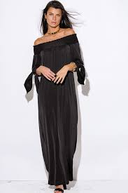 shop black sashed smocked off shoulder long sleeve formal evening