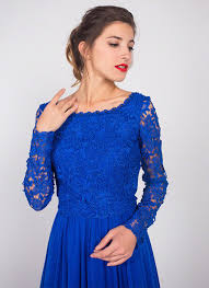 royal blue floor length lace evening gown with rhinestone