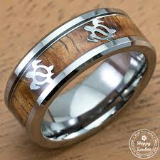 8mm ring tungsten 8mm ring with hawaiian sea turtle pattern koa wood inlay
