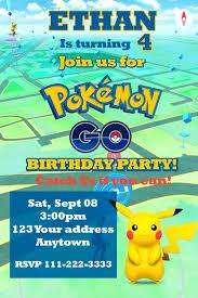 template stylish pokemon birthday invite wording with card