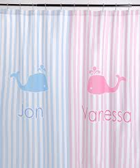 Pink Striped Curtains Striped W Whales Shower Curtain Personalized Baby N Toddler
