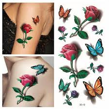 temporary 3d butterfly flower rose tattoo sticker decal ladies