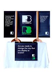 trade show table runner recyclable table top tradeshow display with vertical triple banner