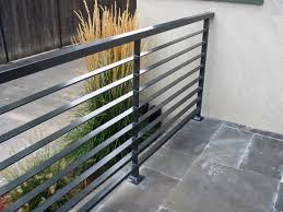 Contemporary Railings For Stairs by Interior Modern Grey Metal Balcony Railing With Stoned Floor Also