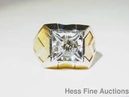 massive heavy 14k gold art deco vintage mens solitaire diamond