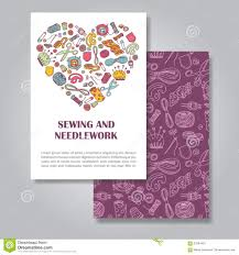 Invitation Card Design Two Sides Invitation Card Design With Sewing And Needlework Stock