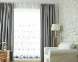 gray linen curtains etsy