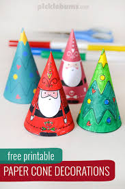 paper cone christmas decorations free printable paper cones