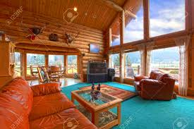 furniture magnificent log cabin interiors for living room sets