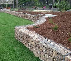 small gabion retaining wall filled with sandstone http www