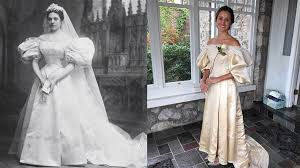 bride will be 11th in family to wear 120 year old wedding dress