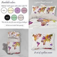 Duvet Covers College Watercolor World Map Bedding Watercolor Art Print Duvet Cover Set