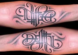 simple black ink life death letter tattoo make on both sleeve