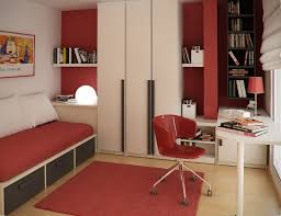 teenage bedroom colors with modern single bed with drawer feat red