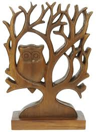 carved owl in tree ornament decorative wooden carving