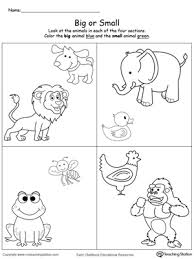 comparing animals sizes big and small printable maths worksheets