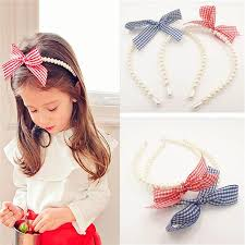 pearl headband pink and blue plaid pearl headband graceful bow knot school girl