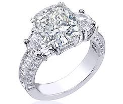 rings large stones images Engagement ring large cushion diamond half moon side stones in JPG