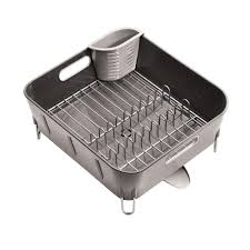 Dish Drainers Simplehuman Compact Dish Rack In Grey Plastic Kt1106 The Home Depot