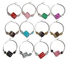 dice wine charms with pouch 1 dozen wine accessory