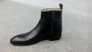 handmade men black side zipper ankle boot mens fashion ankle high