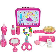 Vanity Playset Wooden Childrens Hairdressers Vanity Case Beauty Set In Tin Carry