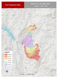 Wildfire Perimeter Map by Willow Fire Update August 3 2015 Firewise Madera County