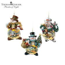 kinkade snowman ornament collection memories of