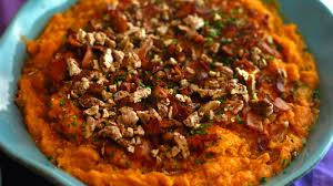 maple orange sweet potatoes topped with bacon pecans and chives