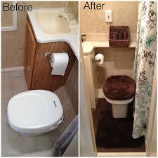 travel trailer remodel bathroom new tile flooring painted