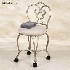 Velvet Vanity Chair Bathroom Silve Stainless Steel Movable Vanity Stool With Backrest
