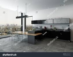 loft conversion open plan ground floor stylish modern kitchenette open plan living stock illustration