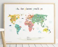 World Map For Kids Printable Map Poster 11x14 In 20x16 In 24x36 In World Map