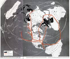 Azimuthal Map 1942 Air Transport Azimuthal Map Shows Possible Routes Life