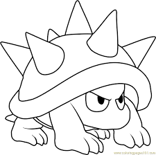 spiny coloring free super mario coloring pages