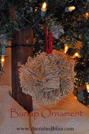 burlap ornament cherished bliss