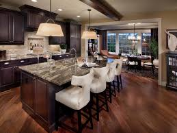 old world accents are paired with contemporary barstools in this
